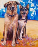 Abby and Jackson dog portrait by artist Kate Green