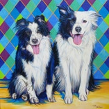 Dash and Jeeves dog painting by artist Kate Green